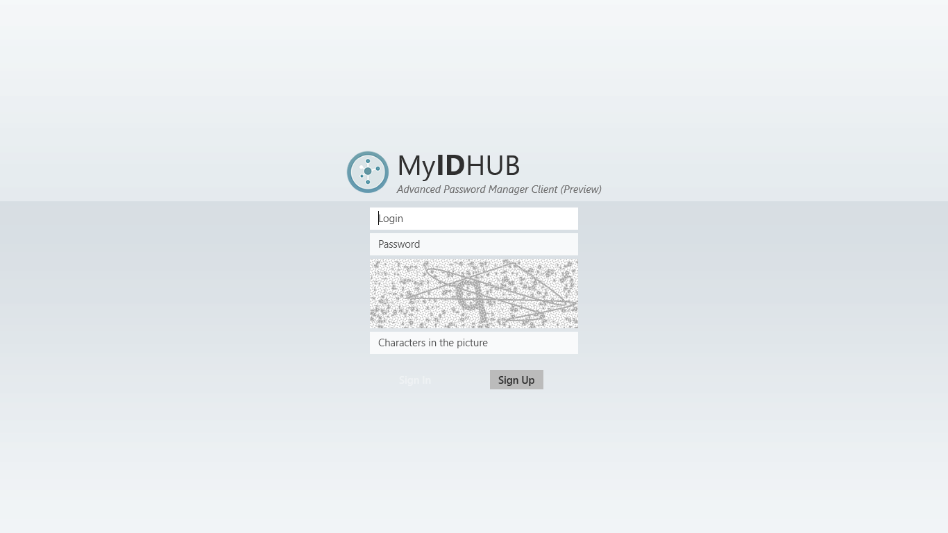 My ID HUB Windows Store App Login Page