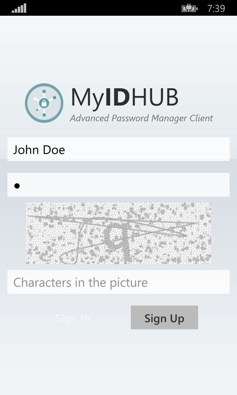 My ID HUB Windows Phone App Login Page